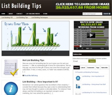 List Building PLR Niche Blog