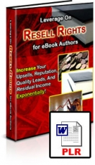 Leverage On Resell Rights for eBook Authors Private Label Rights